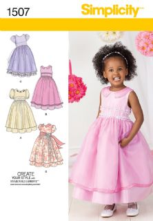 1507 Simplicity Pattern: Toddlers' and Child's Special Occasion Dress